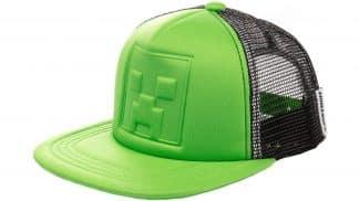 כובע מצחייה ירוק עם רשת שחורה של מיינקראפט קריפר