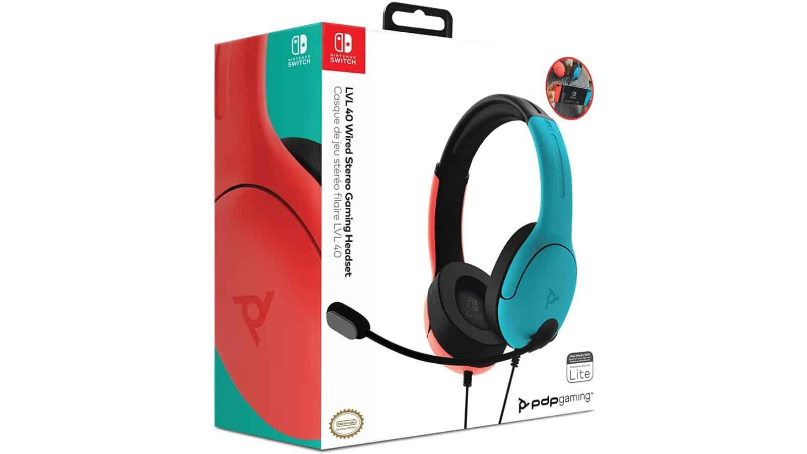 אוזניות גיימינג חוטיות LVL40 בעיצוב קונסולת Nintendo Switch