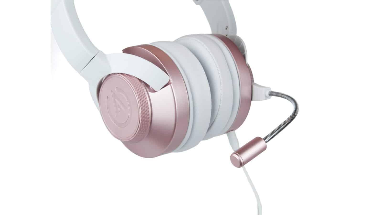 אוזניות חוטיות ורודות עם מיקרופון