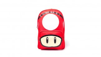 תיק גב אדום עם איור של פטריה אדומה ממשחקי סופר מריו