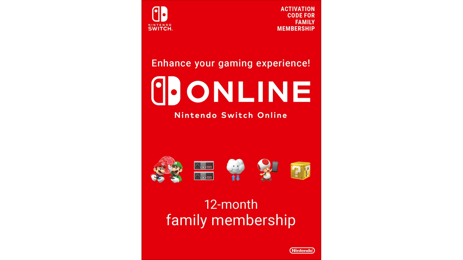 נינטנדו סוויץ' אונליין - Nintendo Switch Online - מנוי משפחתי 365 יום