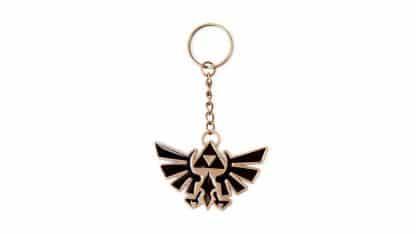 מחזיק מפתחות בצבעים שחור וזהב בעיצוב סמל Triforce