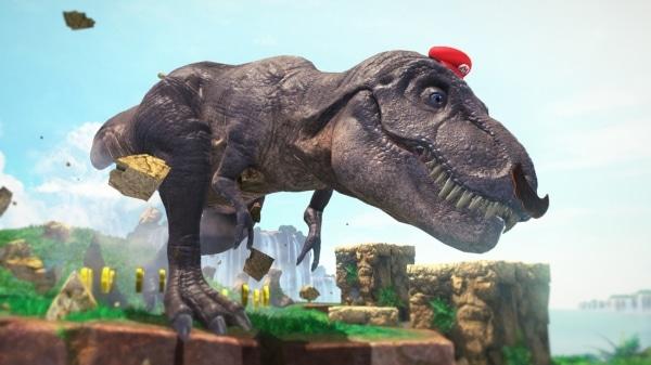 משחק Super Mario Odyssey לנינטנדו סוויץ' - מריו שולט בדינוזאור