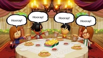 צילום מסך 1 מתוך המשחק: Miitopia הדמויות יושבות סביב שולחן אוכל
