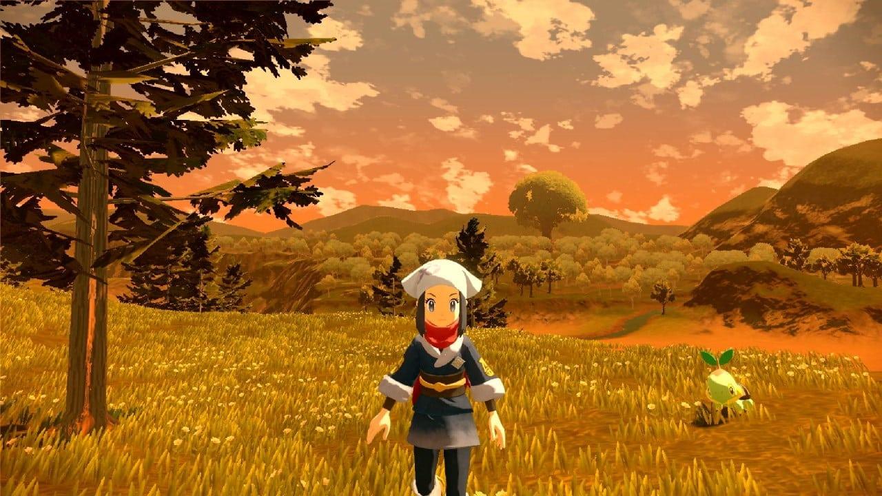 משחק Pokémon Legends: Arceus לנינטנדו סוויץ' - שחקנית וטארטוויג בשדה פתוח