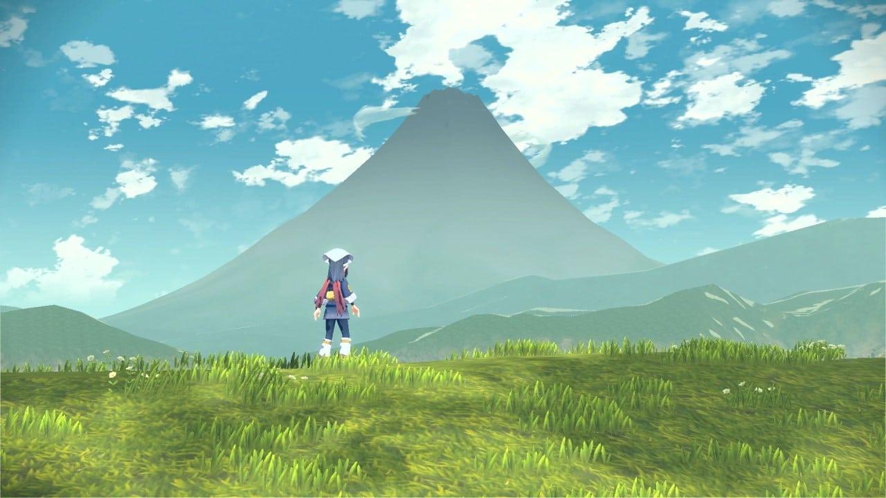 משחק Pokémon Legends: Arceus לנינטנדו סוויץ' - שחקנית משקיפה על הר קורונט