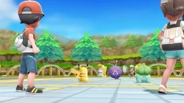 צילום מסך 1 מתוך המשחק: Pokemon Let's Go : Pikachu פוקימונים עם המאמנים שלהם