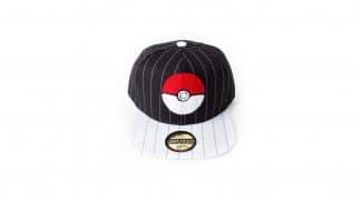 כובע פסים שחור עם הדפס של פוקדור ומצחייה בצבע לבן