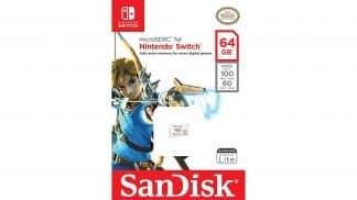 כרטיס זיכרון בנפח 64 גיגה בייט בעיצוב משחקי The Legend of Zelda - אריזה