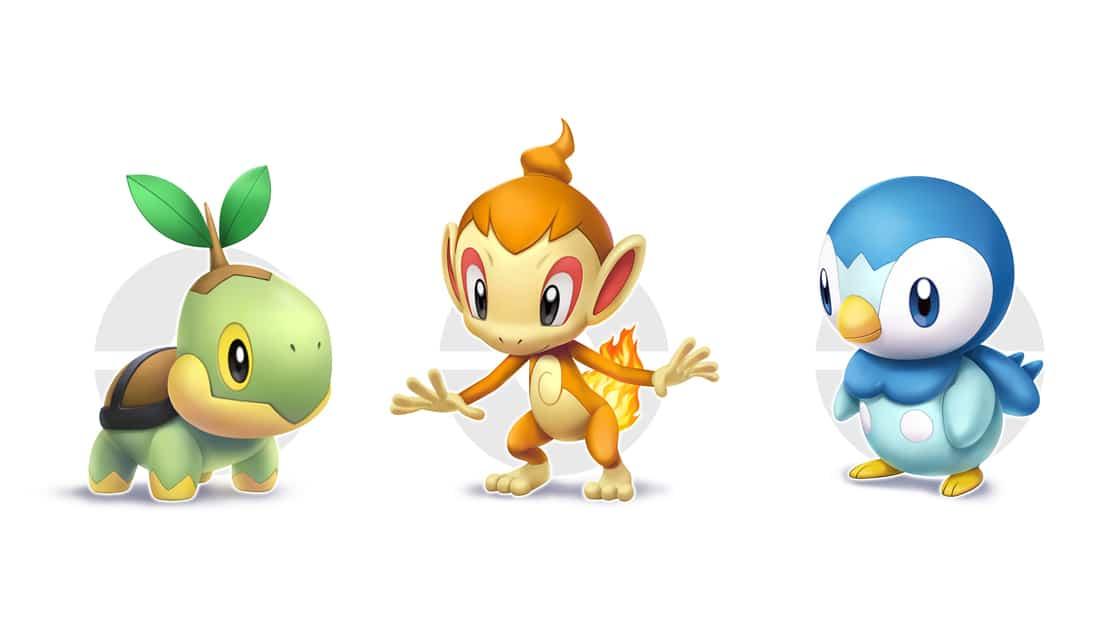 משחק Pokémon Shining Pearl לנינטנדו סוויץ' - הפוקימונים ההתחלתיים: Turtwig, Chimchar, Piplup