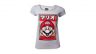 חולצה (נשים) - מריו עם כיתוב יפני - אפור