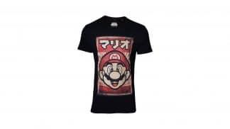 חולצה שחורה מריו עם כיתוב יפני