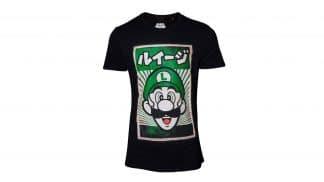 חולצה - לואיג'י בצבע ירוק עם כיתוב יפני - שחור
