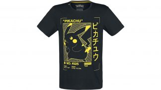 חולצה שחורה עם הדפס פיקאצ'ו צהוב