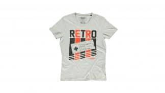 חולצת רטרו בצבע אפור של קונסולת נינטנדו הישנה- קדימה