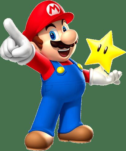 הדמות סופר מריו מחזיקה כוכב