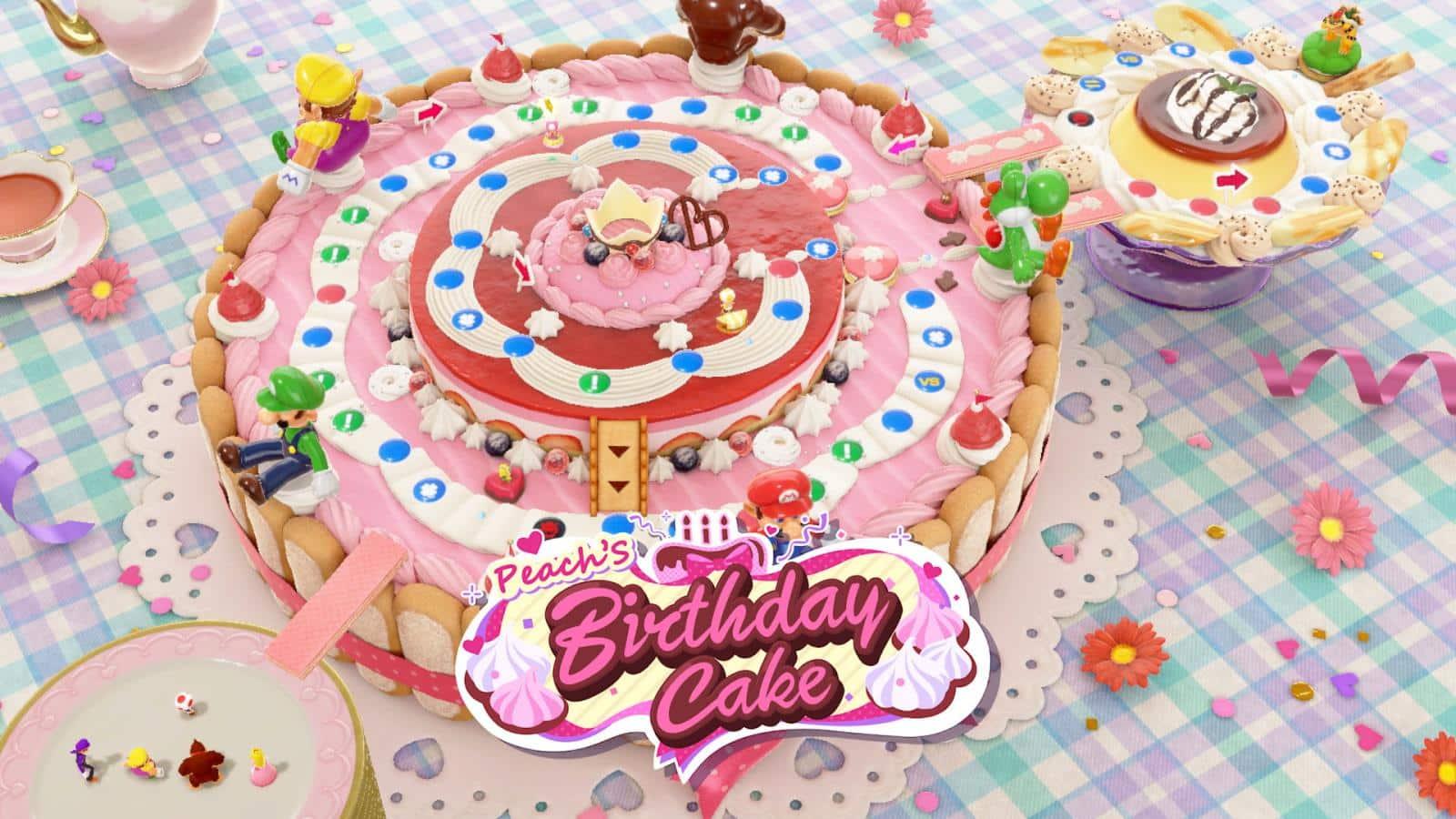 צילום מסך 1 למשחק: Mario Party Superstars לקונסולת נינטנדו סוויץ' עוגת יום הולדת לנסיכה פיץ'
