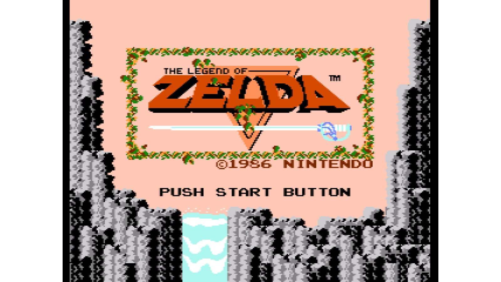 צילום מסך 1 לקונסולת Game & Watch: The Legend of Zelda מסך ראשי בצבע וורוד עם הלוגו של Zelda