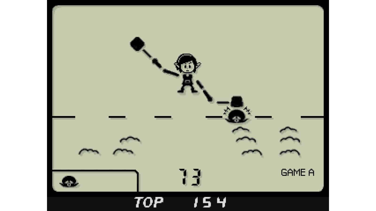 צילום מסך 4 לקונסולת Game & Watch: The Legend of Zelda לינק מכה בחפרפרת במשחק