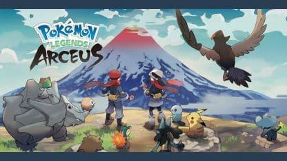 משחק Pokémon Legends: Arceus לנינטנדו סוויץ' - פוקימונים ודמויות מסתכלים מעבר לצוק
