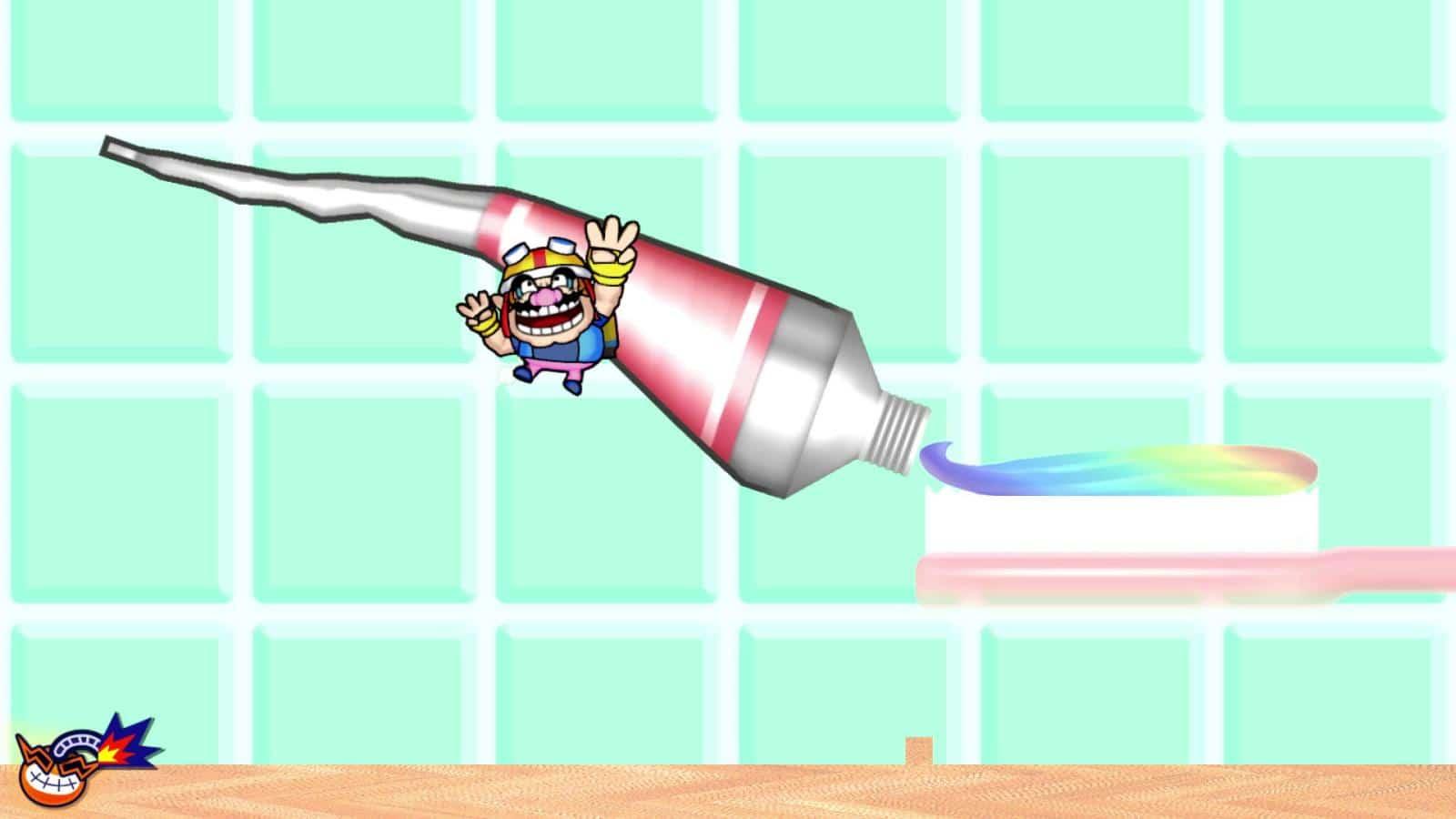 צילום מסך 1 למשחק: WarioWare: Get It Together! הדמות וואריו ומאחוריה רקע של משחת שיניים בצבעי הקשת