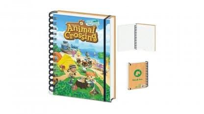 מחברת A5 עם איור הולוגרמה של המשחק Animal Crossing: New Horizons.