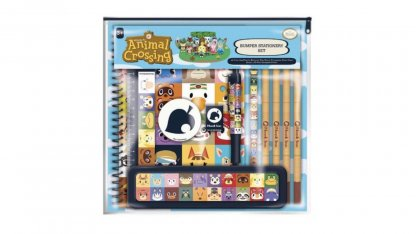 ערכת כלי כתיבה בעיצוב דמויות מסדרת אנימל קרוסינג הכוללת: עט כדורי, סרגל, מחק, מחדד, עיפרון, קייס עפרונות ו-4 עפרונות צבעוניים.
