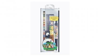 סט כלי כתיבה בעיצוב דמויות מסדרת אנימל קרוסינג הכוללת: סרגל, עיפרון, מחדד, מחק ועט.