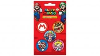 אריזה - ערכה הכוללת חמישה מחקים בעיצוב דמויות ואלמנטים מסדרת Super Mario.